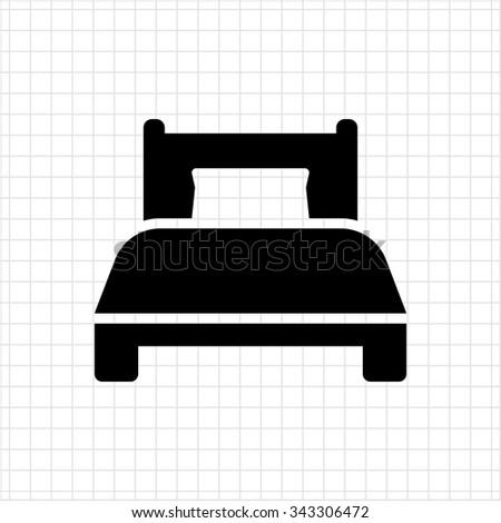 Single bed icon - stock vector