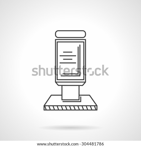 Single black flat line vector icon for outdoor advertising object. Street citylight. Design element for business, logo and website. - stock vector