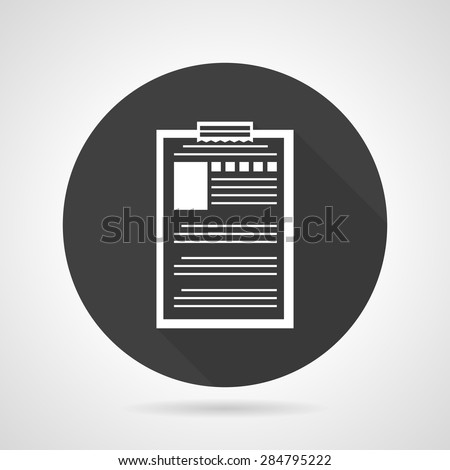 Single black round flat style vector icon with white contour document file with personal data on gray background. - stock vector