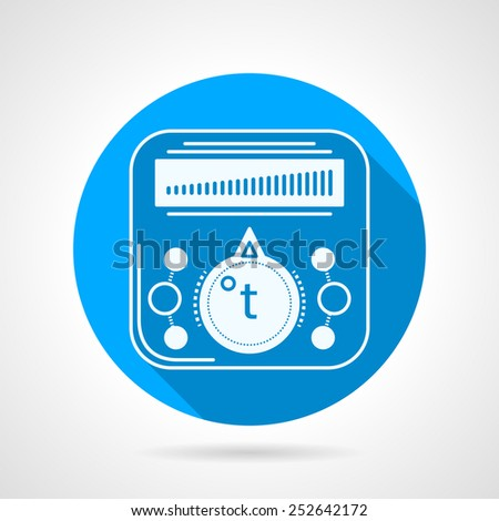 Single blue flat vector icon with white contour thermostat for underfloor heating on gray background with long shadow. - stock vector