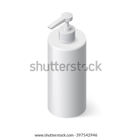 Single Bottle of Shampoo in Isometric Style on White Background