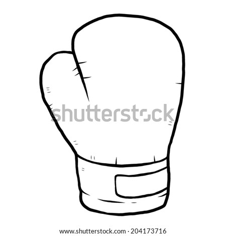 single boxing glove / cartoon vector and illustration, black and white, hand drawn, sketch style, isolated on white background. - stock vector