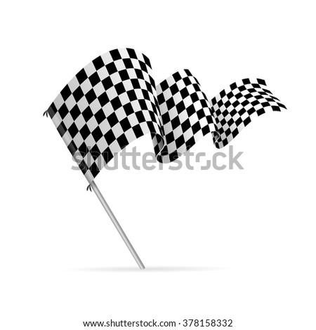 Single Checkered Racing Flag Avto. Vector illustration - stock vector