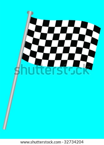 Single chequered flag for the winner on a blue background - stock vector
