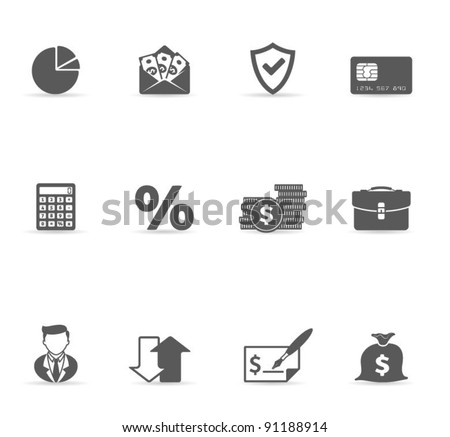 Single Color Icons - More Finance - stock vector