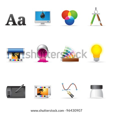 Single Color Icons - Printing & Graphic Design - stock vector