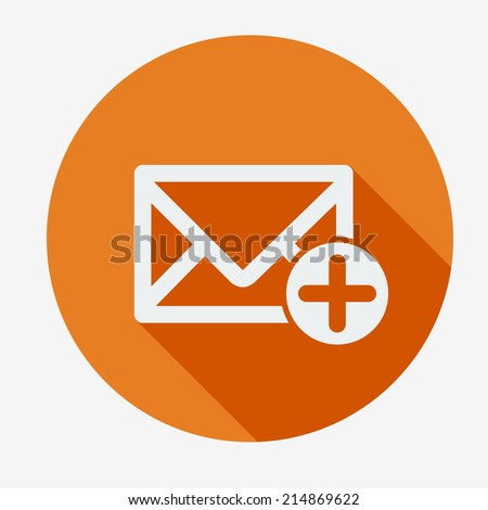 Single flat icon with long shadow for web applications, email icons design. Envelope with plus sign, add. Vector illustration. Social networking & communication. Easy paste to any background - stock vector