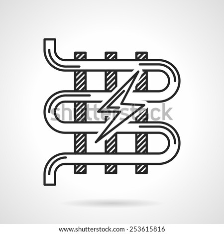 Single flat line vector icon for electrical underfloor heating with lightning sign on white background. - stock vector
