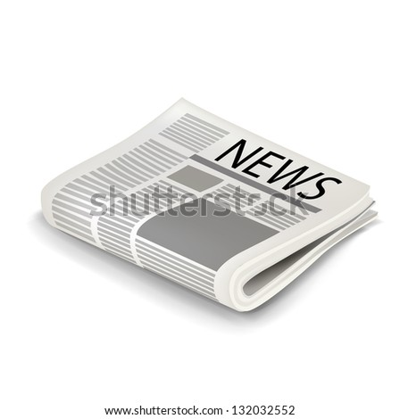 Single folded newspaper isolated on white - stock vector