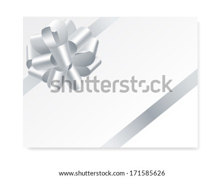 single gift bow of silver color, oblique ribbons on white, vector illustration - stock vector