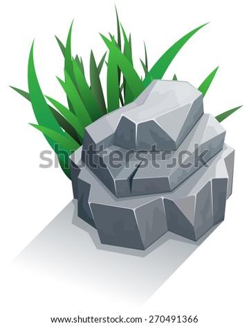 Single granite stone with grass. Vector illustration - stock vector