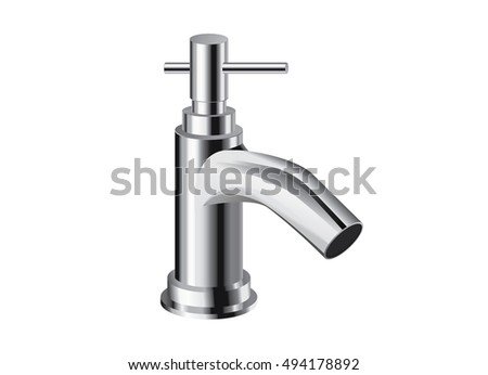 Single hole bathroom faucet chrome. Single handle controls. Vector object about bathroom interior.