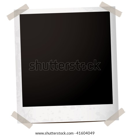 single instant photograph with tape holding the corners down - stock vector