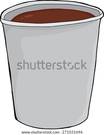 Single isolated full styrofoam cup of hot cocoa