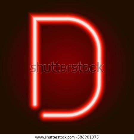 Single light red neon letter d stock vector hd royalty free single light red neon letter d of vector illustration thecheapjerseys Gallery