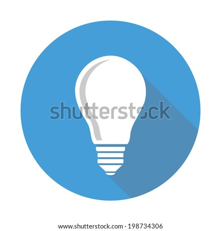 single lightbulb icon with shadow, flat style - stock vector