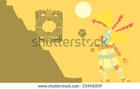 Single Mayan Ballplayer in ball court designed after Mesoamerican Pottery and Temple Images. - stock vector