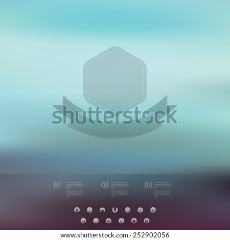 Single page website on blurred vintage background. Basic web line icons for introduction. Minimalistic design. Eps10 vector illustration. - stock vector
