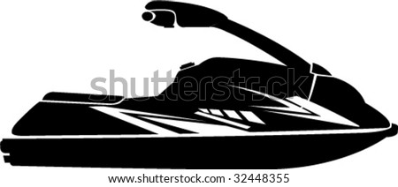 Single Person Racing Jet Ski - stock vector