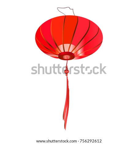 Single Red Chinese Lantern Isolated On Stock Photo (Photo, Vector ...