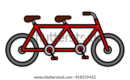 Single red colored tandem bicycle with gray tires and two brown seats over white background - stock vector