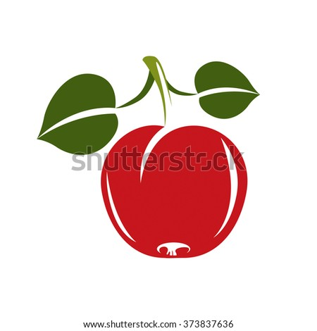 Single red simple vector apple with green leaves, ripe sweet fruit illustration. Healthy and organic food, harvest season symbol.  - stock vector