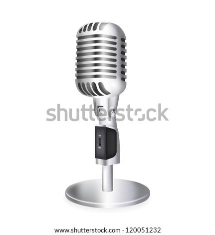 single retro microphone. Vector illustration - stock vector