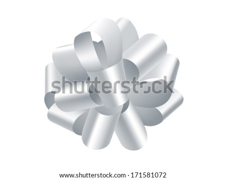 single silver gift bow isolated on white, vector - stock vector