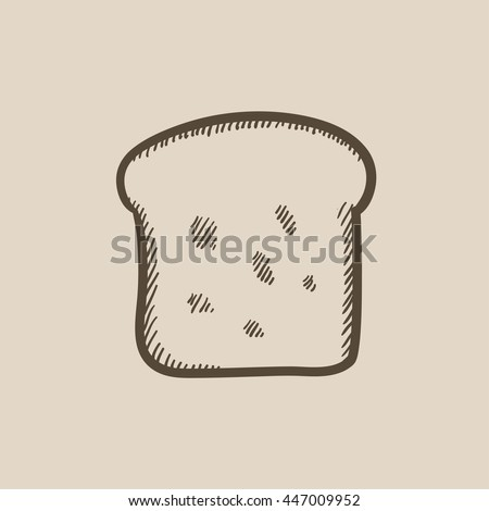Single slice of bread vector sketch icon isolated on background. Hand drawn Single slice of bread icon. Single slice of bread sketch icon for infographic, website or app. - stock vector