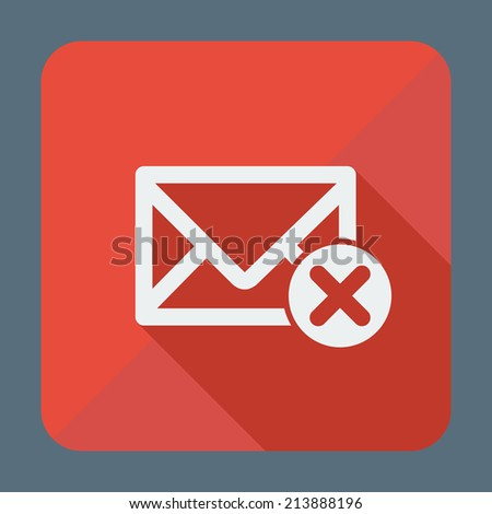 Single square flat icon for web applications, email icons design. Envelope with close sign. Vector illustration. - stock vector