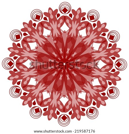 Single symmetric geometric circle ornament in vintage style in red design