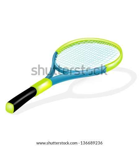 single tennis racket isolated on white background - stock vector