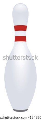 Single white bowling pin with red stripes, isolated on white background, vector art image illustration - stock vector