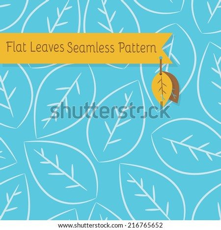 Single white leaves seamless pattern on blue background - stock vector
