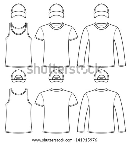 Singlet, T-shirt, Long-sleeved T-shirt and Cap template - stock vector