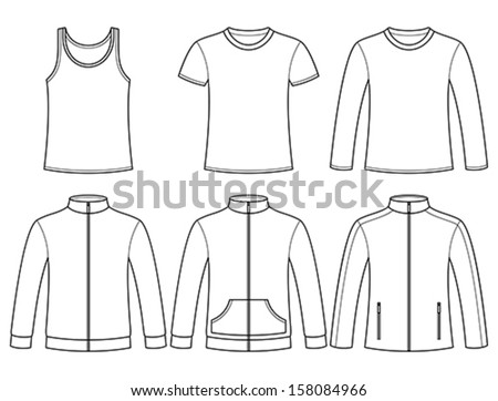 Singlet, T-shirt, Long-sleeved T-shirt, Sweatshirts and Jacket template isolated on white background - stock vector