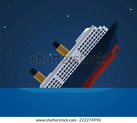 Sinking ship illustration - stock vector