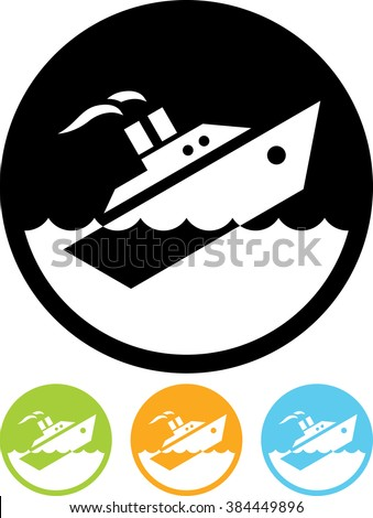 Sinking ship vector isolated - stock vector