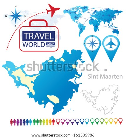 Sint Maarten. World Map. Travel vector Illustration. - stock vector