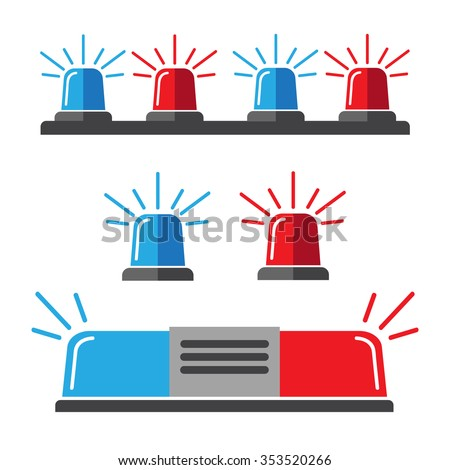 Siren set. Police flasher or ambulance flasher icons in flat style - stock vector