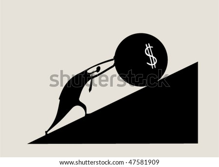Sisyphus - stock vector