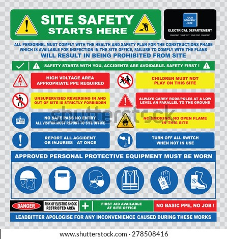 site safety starts here or site safety electrical sign template (hard hats, safety goggles, visibility jackets, antistatic hand protection, protective footwear, injuries, restricted area, danger) - stock vector