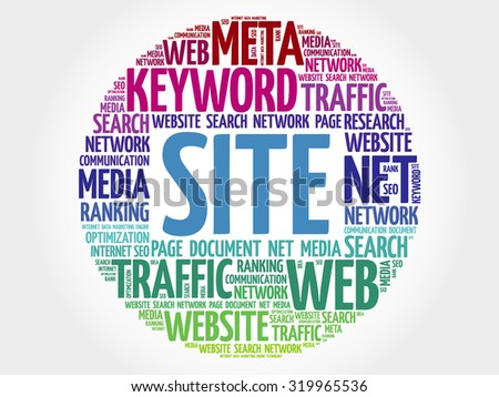 SITE word cloud, business concept - stock vector