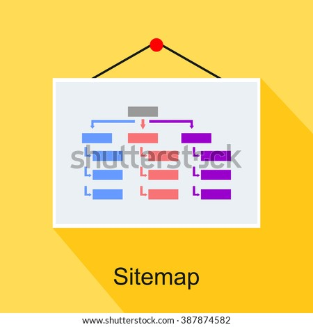 Sitemap, diagram, or structure concept illustration. flat design. - stock vector