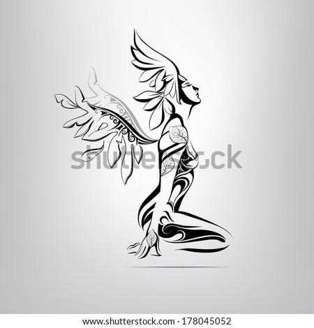 Sitting angel. vector illustration - stock vector