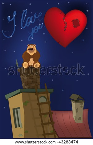 sitting bear on a pipe and heart - stock vector