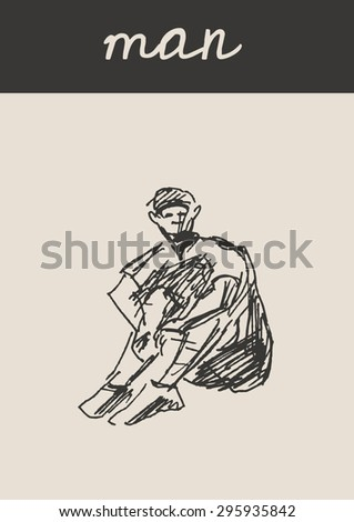 Sitting boy or man , in doodle engraving etching sketch hand drawing style, for urban sketching and fashion business design