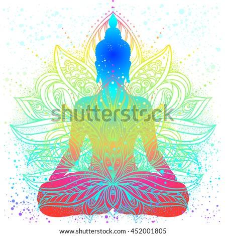 Sitting buddha beautifully detailed lotus flower stock vector sitting buddha with beautifully detailed lotus flower esoteric vector illustration vintage background indian mightylinksfo