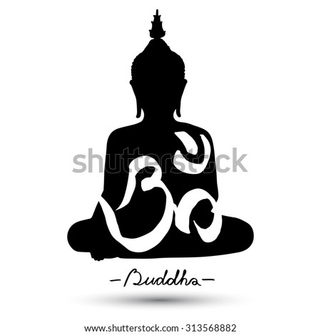 "Sitting Buddha with ""Om"" symbol isolated on white background. Vector illustration - stock vector"