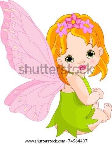 Sitting cute Baby fairy - stock vector
